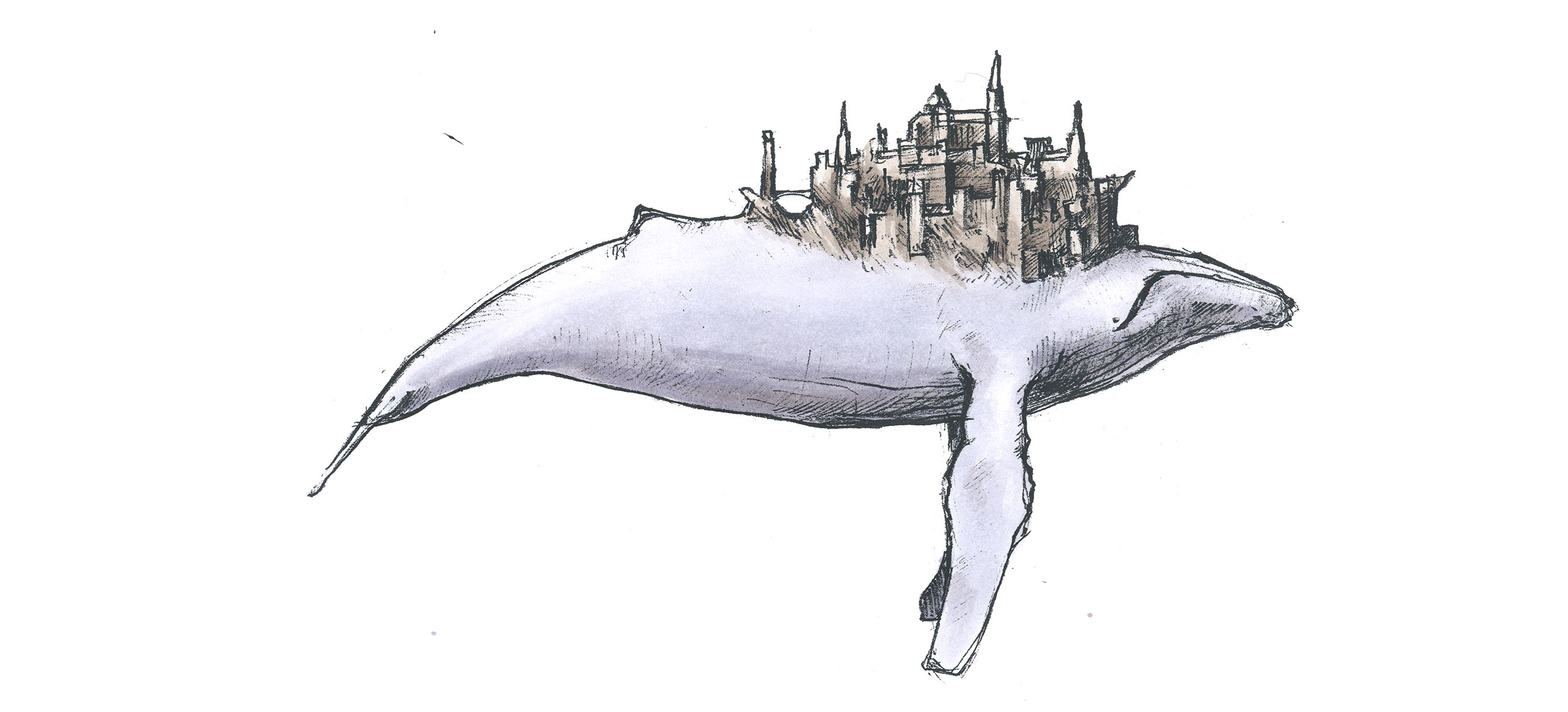Drawing of whale with medieval city on its back